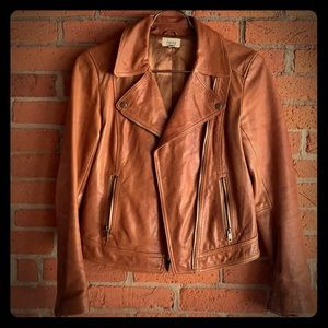 RARE Vintage fossil lamb leather moto jacket coat